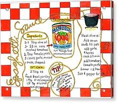 Recipe -spaghetti Sauce  Acrylic Print
