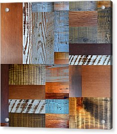 Reclaimed Wood Collage 1.0 Acrylic Print by Michelle Calkins