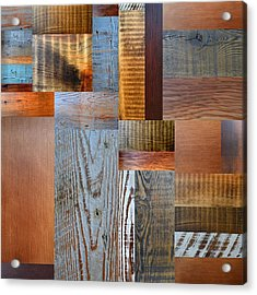 Reclaimed Wood Collage 2.0 Acrylic Print by Michelle Calkins