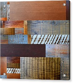 Reclaimed Wood Collage 3.0 Acrylic Print by Michelle Calkins