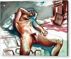 Nude Reclined Male Figure Acrylic Print