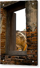Reclining Buddha View Through A Window Acrylic Print by Ulrich Schade