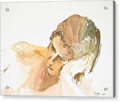 Reclining Head Acrylic Print by Eugenia Picado