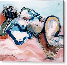 Reclining Multi-coloured Gestural Nude Acrylic Print