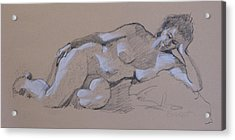 Reclining Nude 2 Acrylic Print by Robert Bissett