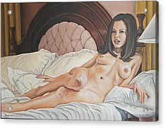 Reclining Nude Acrylic Print by Kenneth Kelsoe