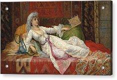 Reclining Turkish Woman Acrylic Print by Emile Henri La Porte