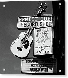 Record Shop- By Linda Woods Acrylic Print by Linda Woods