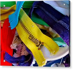 Recycle Your Zippers Acrylic Print by Gwyn Newcombe