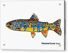 Acrylic Print featuring the mixed media Recycled Brook Trout by Bill Thomson