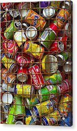 Recycling Cans Acrylic Print by Carlos Caetano