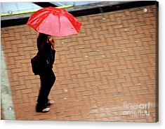 Red 1 - Umbrellas Series 1 Acrylic Print by Carlos Alvim