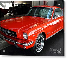Red 1965 Ford Mustang . Front Angle Acrylic Print by Wingsdomain Art and Photography