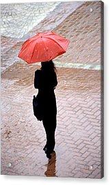 Red 2 - Umbrellas Series 1 Acrylic Print by Carlos Alvim