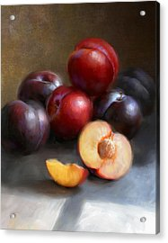 Red And Black Plums Acrylic Print by Robert Papp