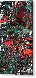 Red And Black Turquoise Drip Abstract Acrylic Print by Genevieve Esson