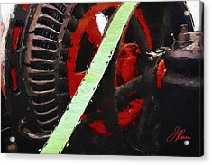 Acrylic Print featuring the painting Red And Black Wheel by Joan Reese