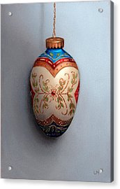 Red And Blue Filigree Egg Ornament Acrylic Print
