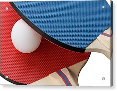 Red And Blue Ping Pong Paddles - Closeup Acrylic Print