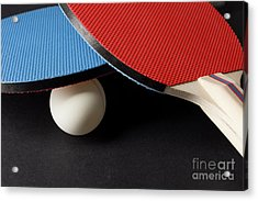 Red And Blue Ping Pong Paddles - Closeup On Black Acrylic Print