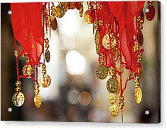 Red And Gold Entrance To Market Acrylic Print by Yoel Koskas