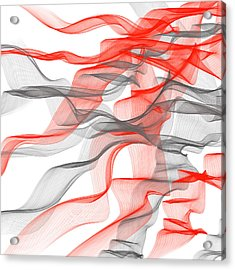 Red And Gray Ribbons -red And Gray Art Acrylic Print