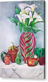Red And Green Composition Acrylic Print
