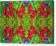 Acrylic Print featuring the digital art Red And Green Floral Abstract by Linda Phelps