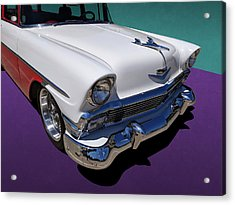 Red And White 1950s Chevrolet Wagon Acrylic Print
