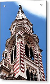 Red And White Church In Bogota Acrylic Print by John Rizzuto