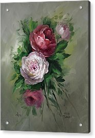 Red And White Roses Acrylic Print by David Jansen