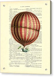 Red And White Striped Hot Air Balloon Antique Photo Acrylic Print