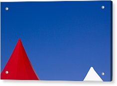 Acrylic Print featuring the photograph Red And White Triangles by Prakash Ghai