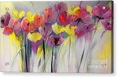Red And Yellow Floral Field Painting Acrylic Print