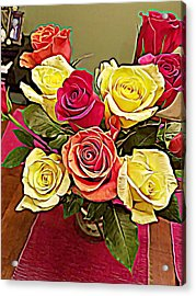 Red And Yellow Rose Bouquet Acrylic Print