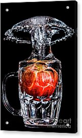 Acrylic Print featuring the photograph Red Apple Splash by Ray Shiu