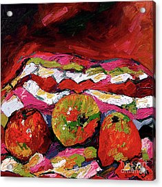 Red Apples Impressionist Still Life Oil Painting Acrylic Print