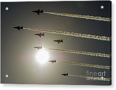 Acrylic Print featuring the photograph Red Arrows Backlit Arrival  by Gary Eason