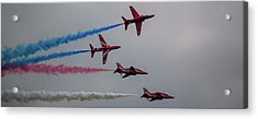 Acrylic Print featuring the photograph Red Arrows Break Off - Teesside Airshow 2016 by Scott Lyons