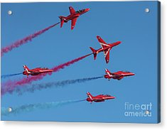 Acrylic Print featuring the photograph Red Arrows Enid Break by Gary Eason