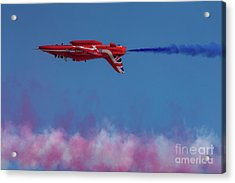Acrylic Print featuring the photograph Red Arrows Hawk Inverted  by Gary Eason