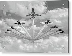 Acrylic Print featuring the photograph Red Arrows Smoke On Bw Version by Gary Eason