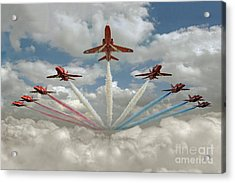 Acrylic Print featuring the photograph Red Arrows Smoke On  by Gary Eason