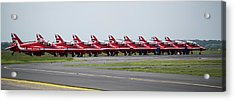 Acrylic Print featuring the photograph Red Arrows - Teesside Airshow 2016 Aircraft Check by Scott Lyons