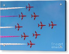 Acrylic Print featuring the photograph Red Arrows Typhoon Formation by Gary Eason