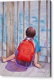 Red Backpack Acrylic Print