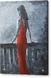 Red Balcony Dress Acrylic Print by Beth Maddox