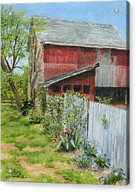 Red Barn And Gray Fence Acrylic Print