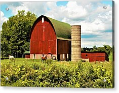 0040 - Red Barn And Horses Acrylic Print