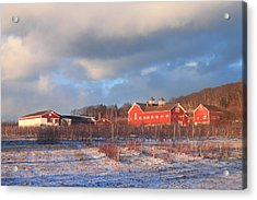 Red Barn And Orchard Winter Evening Acrylic Print by John Burk
